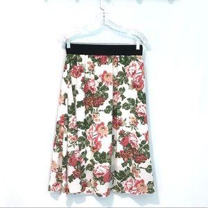 LuLaRoe Lola floral midi skirt pull on Sz small